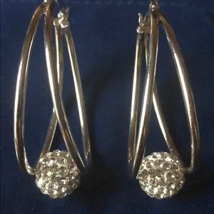 Silver plated glitterball hoop earrings